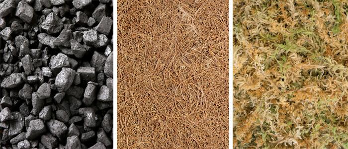 Уголь, кокосовое волокно, мох сфагнум