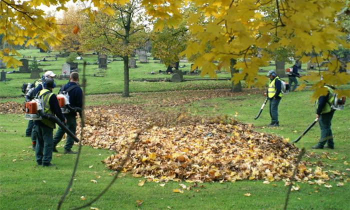 Уборка опавших листьев воздуходувкой
