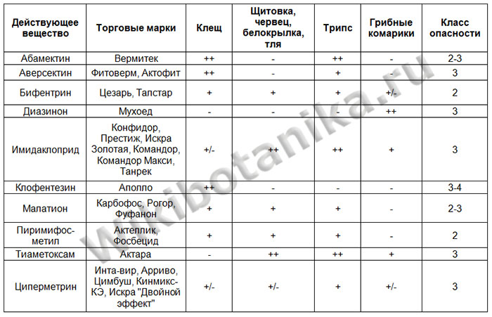Таблица инсектицидов против вредителей комнатных растений