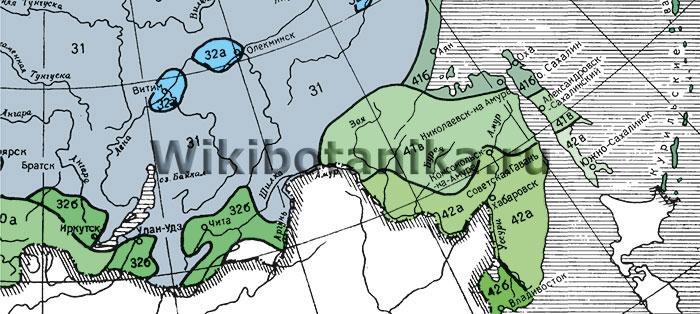 Зоны морозостойкости растений СССР, юго-восток